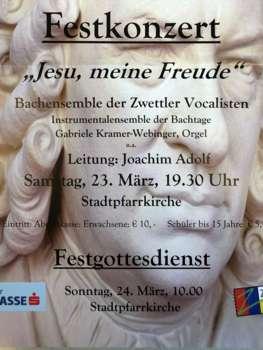 20. Zwettler Bachtage – Festkonzert: Samstag, 23. März; Festgottesdienst: Sonntag, 24. März 2019