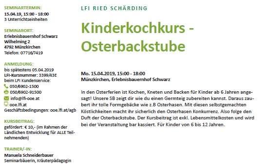 Kinderkochkurs - Osterbackstube - Bild 2