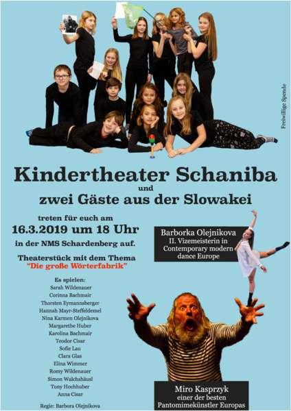 Kindertheater Schaniba und zwei spektakuläre Gäste - Premiere am 16.3.2019 um 18 Uhr in der NMS Schardenberg - Bild 1