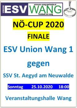 NÖ Cup Finale ESV Union Wang gegen SSV St. Aegyd am Neuwalde