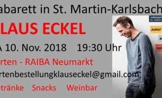 Kabaretthighlight mit Klaus Eckel am 10. November 2018 um 19:30 Uhr in St. Martin-Karlsbach