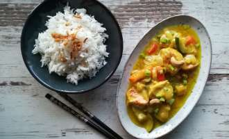 Puten-Curry mit Reis