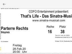 2 Musicalkarten T'hats Life - Sinatra am 28.02.2020 in Linz