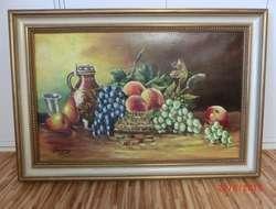 Stillleben mit Obst, Ölgemälde auf Leinwand mit Holzrahmen
